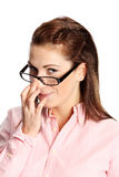 Cute woman in pink and glasses stock images