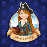 Cute woman pirate with treasure chest. Banner for Pirate party Royalty Free Stock Images