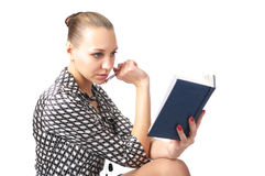 Cute woman planning her schedule royalty free stock photography
