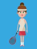 Cute woman player tennis with racket lipstick bun hair Royalty Free Stock Photos
