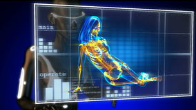 Cute woman radiography on futuristic hologram stock video