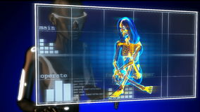 Cute woman radiography on futuristic hologram stock footage