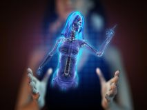 Cute woman radiography on hologram Stock Images