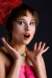Cute woman with red bow Stock Images