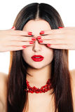 Cute Woman with Red Manicure Nails Stock Images