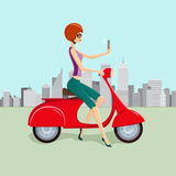 Cute woman on Red Scooter Making Selfie. Vector illustration of cute young woman on red scooter making selfie against city skyscrapers on background Stock Image