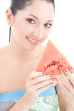 Cute woman with red watermelon Royalty Free Stock Photo