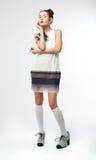 Cute woman -  redhead fashion model in dress Royalty Free Stock Photos