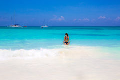 Cute woman relax on the summer beach.  Royalty Free Stock Photos