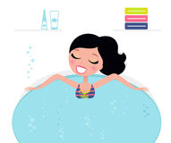 Cute woman relaxing in jacuzzi, spa accessories. Woman relaxing in whirlpool isolated on white. Vector Illustration in retro style Royalty Free Stock Photo