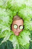 Cute woman with salad leaves arranged around her head with cucum Royalty Free Stock Photos