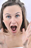 Cute woman screaming Stock Photos