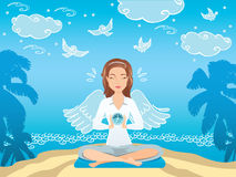 Cute woman seating and relaxing near the sea. Downshifting cartoon character in vector Stock Photo