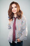 Cute Woman in Shirt and Tie. Royalty Free Stock Image