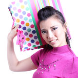 Cute woman and shopping bag Stock Photo
