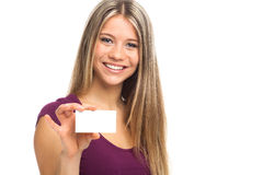 Cute woman showing blank visit card Stock Images