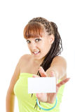 Cute woman showing empty blank paper card sign with copy space f Stock Images