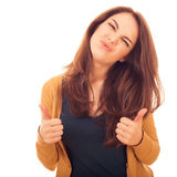 Cute woman shows gesture OK two hands Royalty Free Stock Image