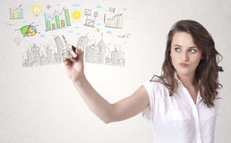 Cute woman sketching city and graph icons Royalty Free Stock Photos