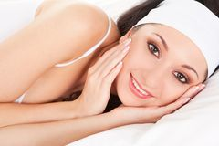 Cute woman sleeps on the bed Royalty Free Stock Photo