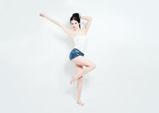 Cute Woman. Slim Body, Positive Emotion Royalty Free Stock Photo