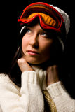 Cute woman with snowboard mask Royalty Free Stock Photo