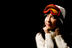 Cute woman with snowboard mask Royalty Free Stock Photography