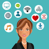 Cute woman with social media icon stock illustration