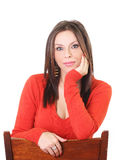 Cute woman standing on a chair Royalty Free Stock Photo