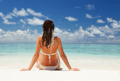 Cute woman on the summer beach Royalty Free Stock Images