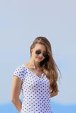 Cute woman with sunglasses Royalty Free Stock Images
