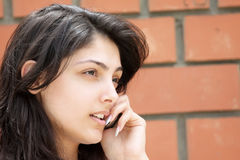 Cute woman talking cellphone closeup Stock Photography