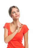 Cute woman thinking Stock Photos