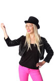 Cute woman in tophat and pink pants Stock Photo