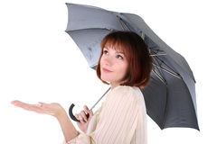 Cute woman with umbrella Royalty Free Stock Images
