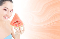Cute woman with watermelon Stock Photos