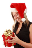 Cute woman wearing santa hat Stock Image