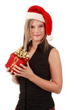 Cute woman wearing santa hat Stock Photo