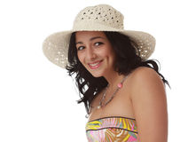 Cute woman wearing white hat Stock Image