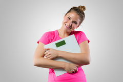 Cute woman with weight scale Stock Photos