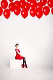 Cute Woman on White Background with Balloons Royalty Free Stock Photo