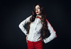 Cute woman in white shirt with bow tie Stock Image