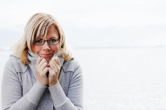 Cute Woman in winter clothes royalty free stock photo