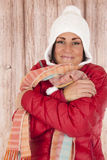 Cute woman in winter clothing with a great expression Royalty Free Stock Images