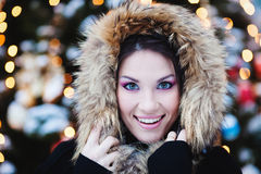 Cute woman in Winter Park Royalty Free Stock Image