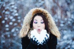 Cute woman in Winter Park Royalty Free Stock Images