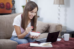 Cute woman working from home Royalty Free Stock Photo