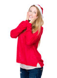 Cute woman with xmas hat Stock Images