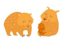 Cute wombats family. Vector illustration Royalty Free Stock Photos