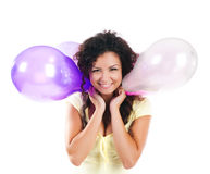 Cute women with the balloons Royalty Free Stock Photos